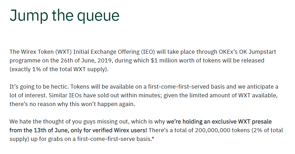 OKEx listing excerpt for Wirex